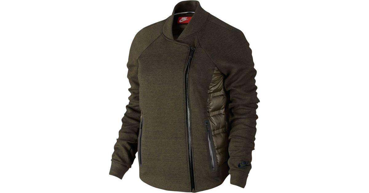 e56ef6c0cbe5 ... Lyst - Nike Aeroloft Tech Fleece Moto Jacket in Green ...