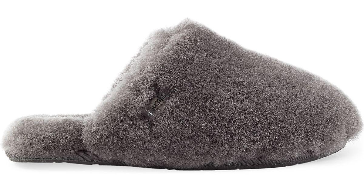 Lyst - UGG Fluff Clog Sheepskin Slippers - Grey in Gray 25f2c2adb