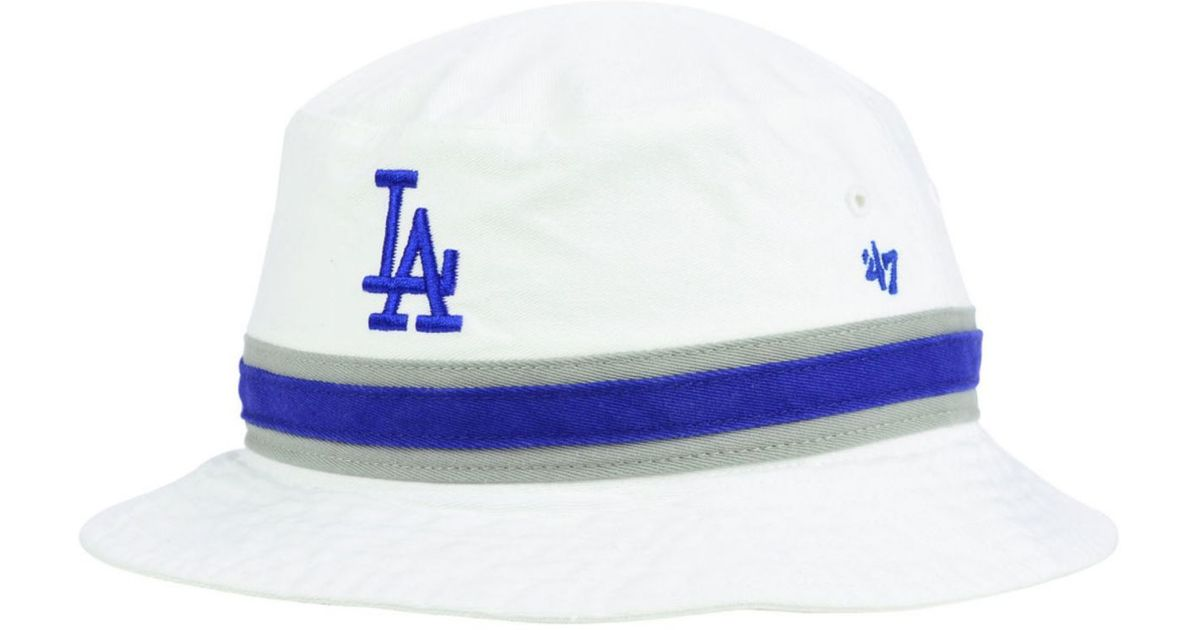Lyst 47 Brand Los Angeles Dodgers Striped Bucket Hat In White For Men cd91db3f8417