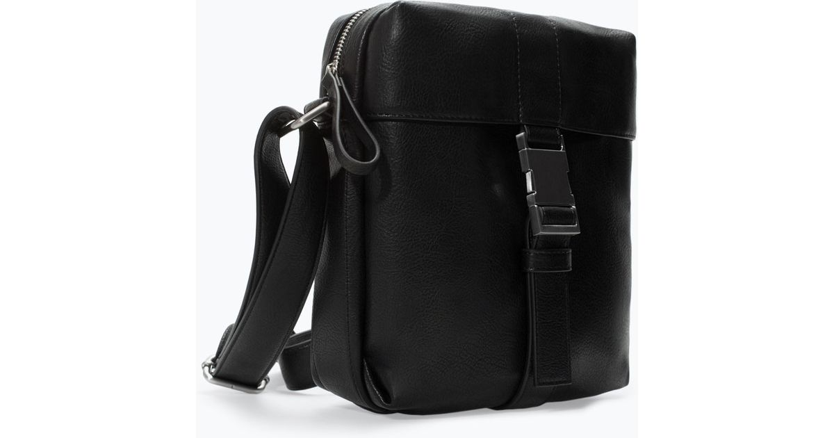 Zara Mini Messenger Bag with Buckle in Black for Men   Lyst 5cc5afe6c9