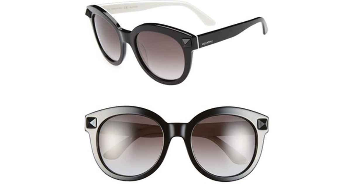 472a70d9fb4 Lyst - Valentino  rockstud  54mm Semi Oval Cat Eye Sunglasses in Black