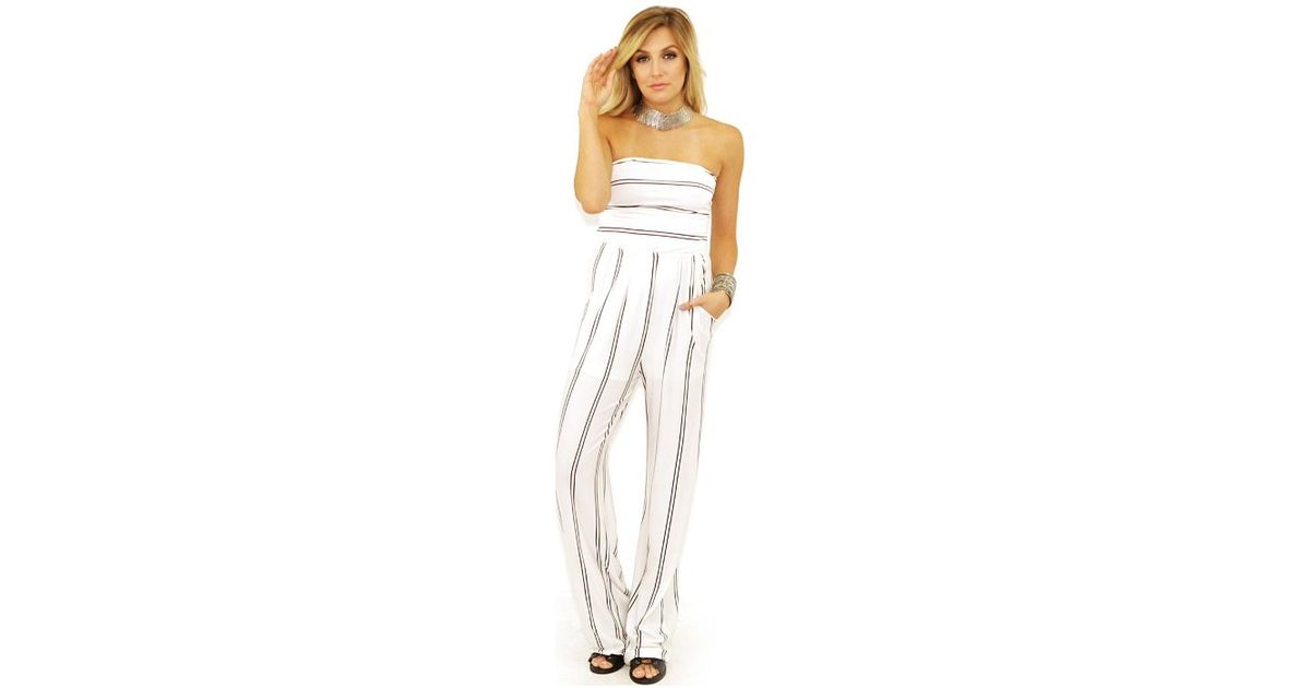 652dc9b2763 Olivaceous Stripe Jumpsuit In White Navy Stripe in White - Lyst
