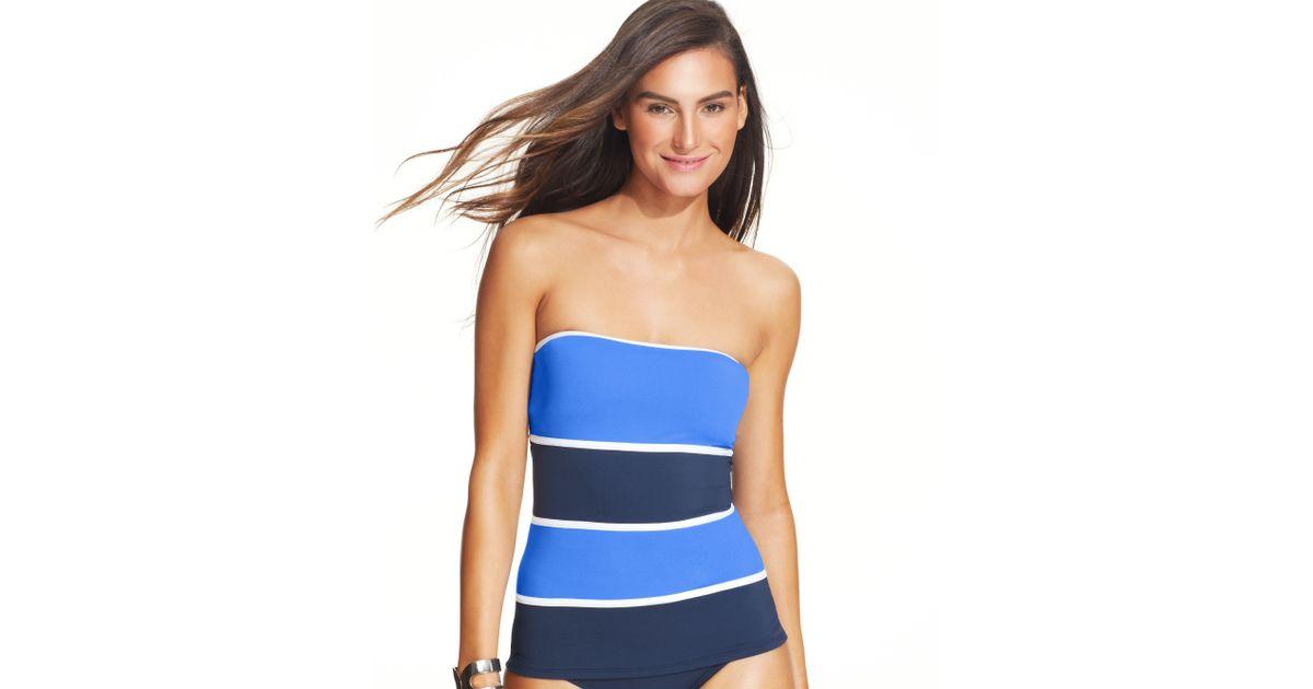 f7260375e3b Anne Cole Colorblock Bandeau Tankini Top in Blue - Lyst
