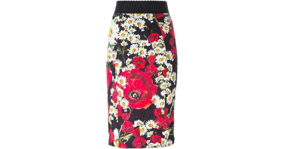 35fde9ff Dolce & Gabbana Daisy And Poppy Print Skirt in Black - Lyst