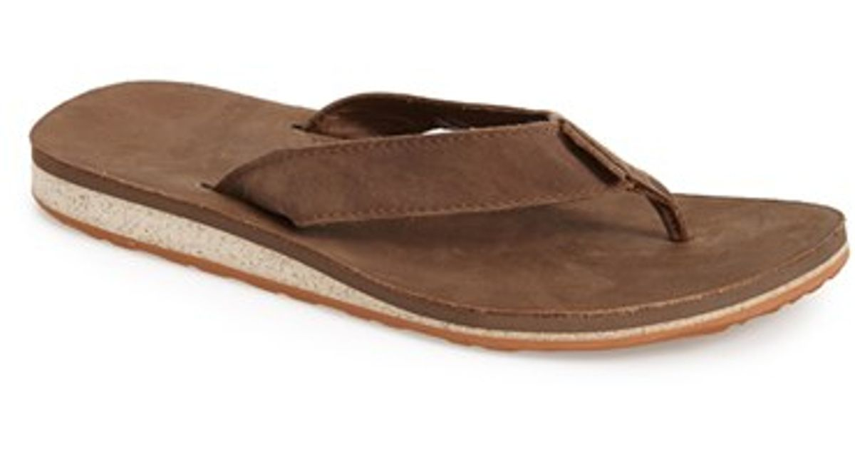 Teva 'classic Flip' Leather Flip Flop in Brown for Men ...