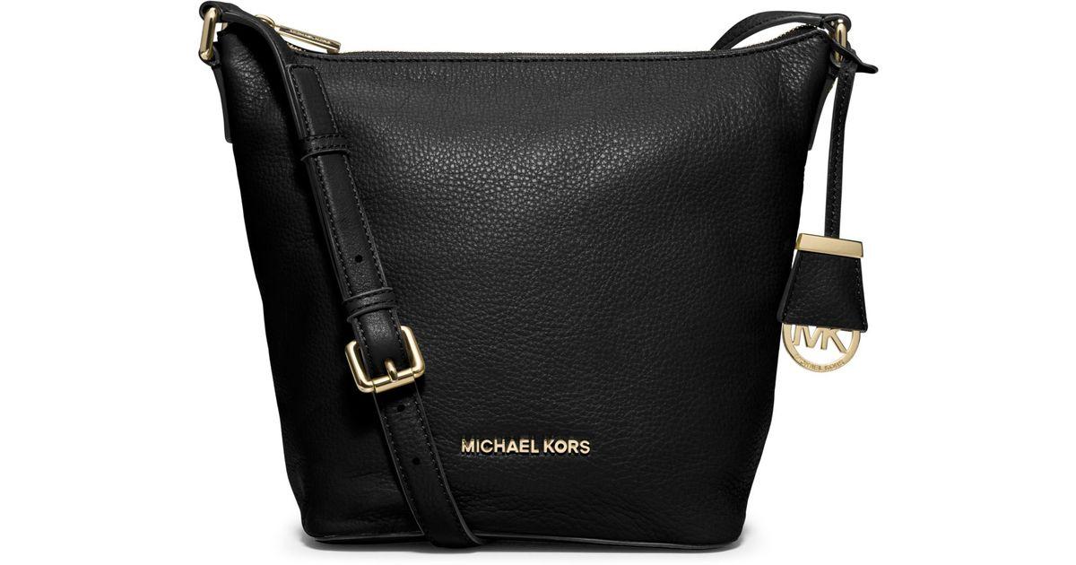 b79b00553094 Lyst - Michael Kors Bedford Medium Leather Messenger in Black
