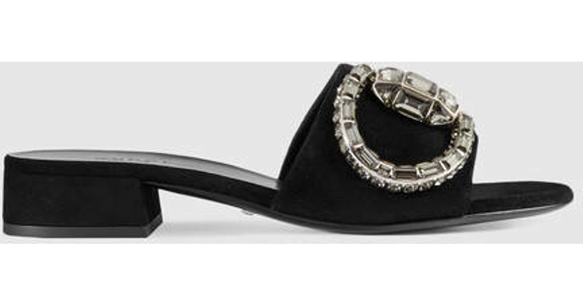93a0d6f9264 Lyst - Gucci Maxime Crystal Suede Sandal in Black