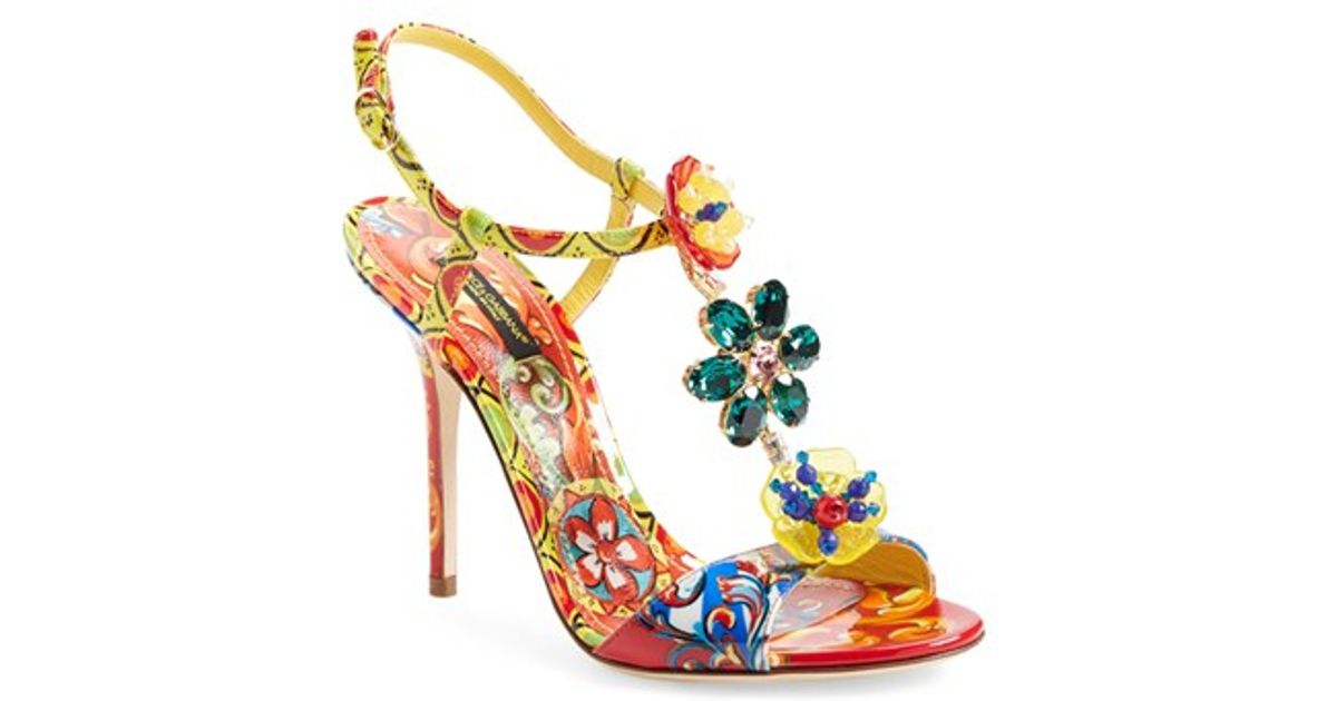 6063580c1cfde4 Lyst - Dolce   Gabbana Jeweled T-strap Sandal