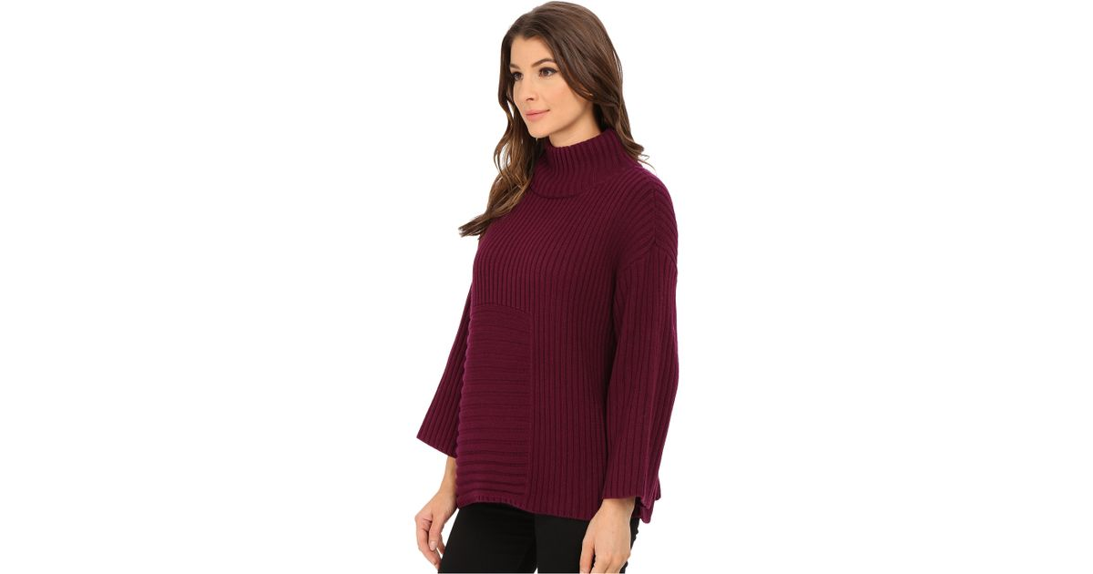 49d034b5238 Lyst - Vince Camuto Elbow Sleeve Mix Rib Turtleneck Sweater in Purple