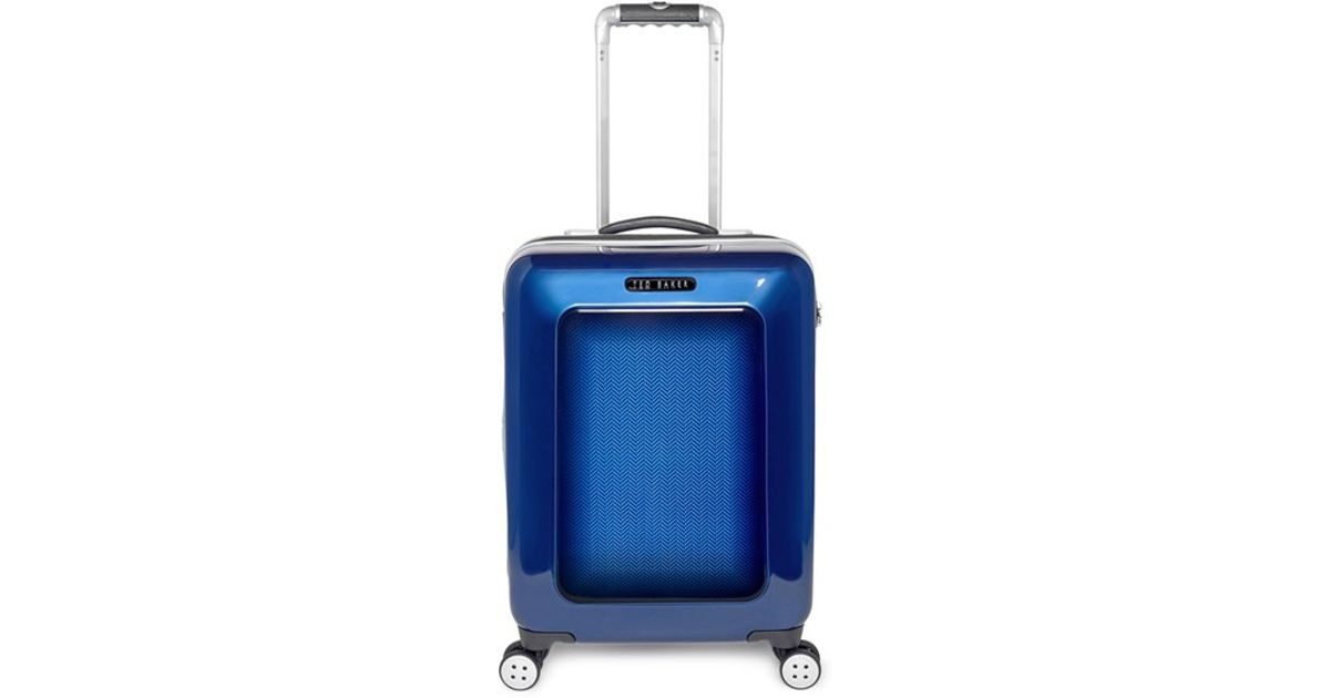 06a48ba36376e1 Lyst - Ted Baker Small Herringbone Rolling Suitcase in Blue for Men