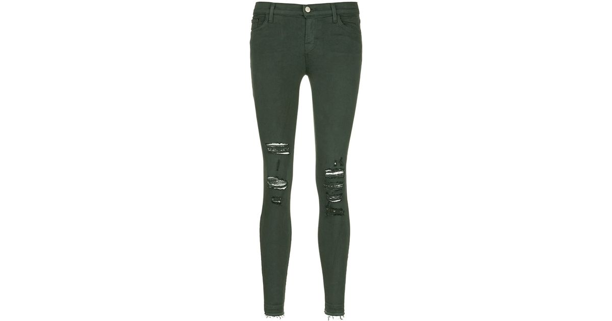 J brand 'photo Ready Skinny Leg' Distressed Jeans in Green | Lyst