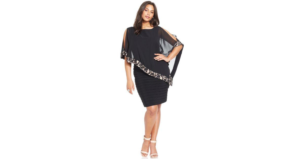 Lyst Xscape Plus Size Lace Trim Capelet Dress In Black
