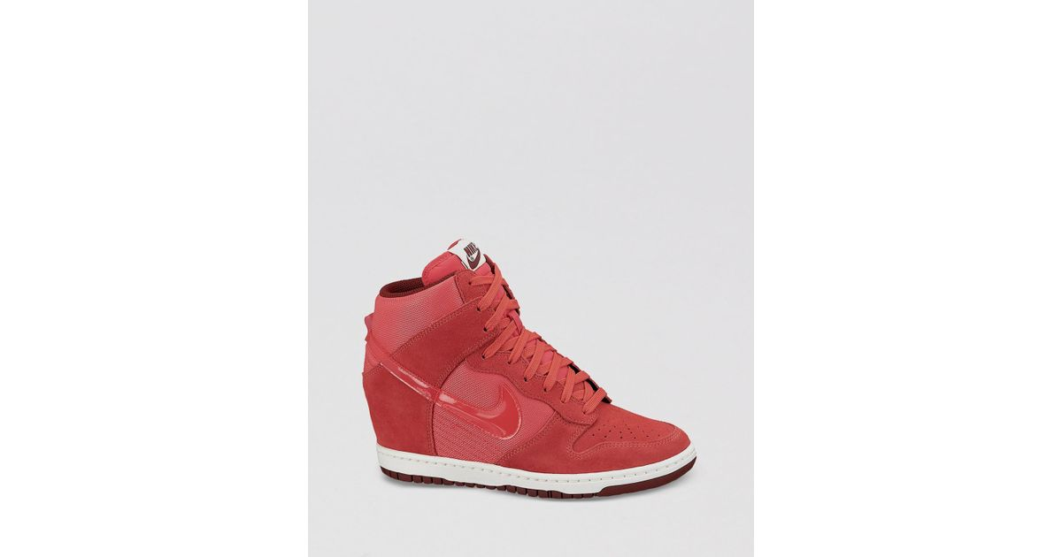 official photos a41e4 1a377 ... Nike Lace Up High Top Wedge Sneakers Womens Dunk Sky Hi Essential in  Red Lyst ...