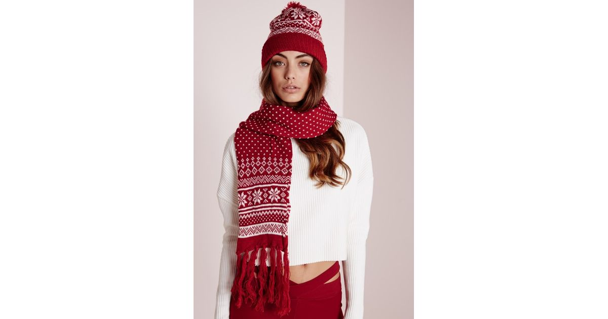 Lyst - Missguided Fair Isle Hat & Scarf Set Red in Red