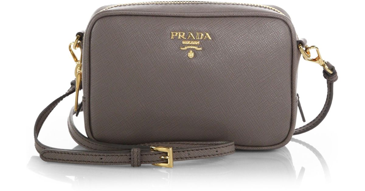 15e85e1d19b5 Prada Saffiano Leather Camera Bag in Gray (ARGILLA-GREY)
