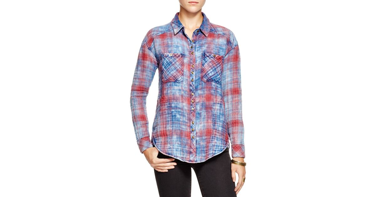 Free people Dip Dye Plaid Button Down Shirt in Blue | Lyst