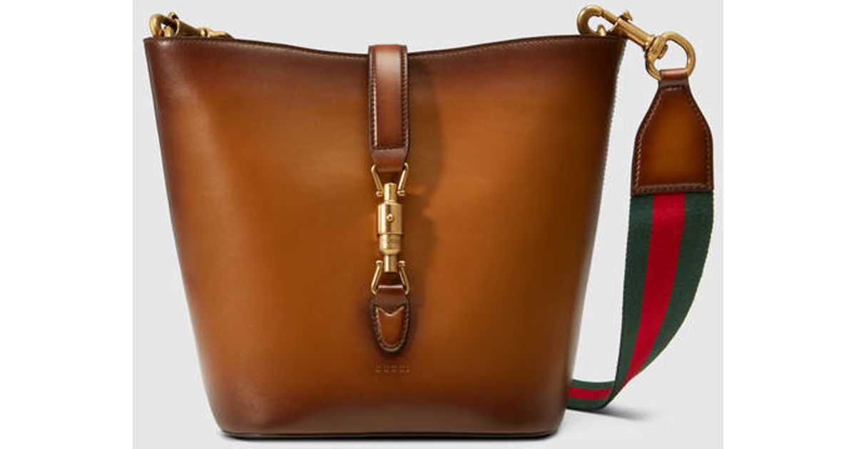 1aa7244e6fe Lyst - Gucci Jackie Soft Leather Bucket Bag in Brown