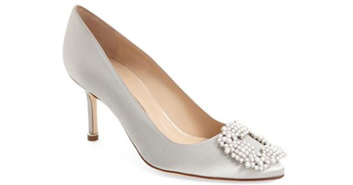 4a2fbd2a6de2 ... greece lyst manolo blahnik hangisi beaded satin pumps in metallic 2fefa  9eaf7