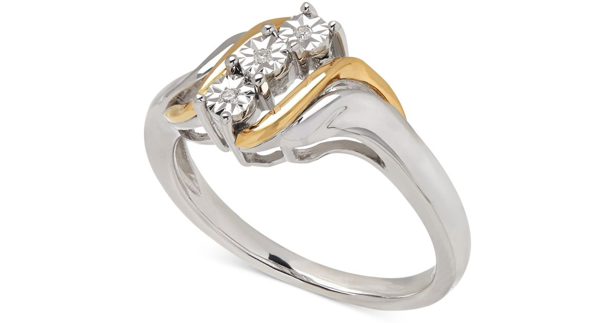 Macy s Diamond Accent Ring In 14k Gold And Sterling Silver in Metallic