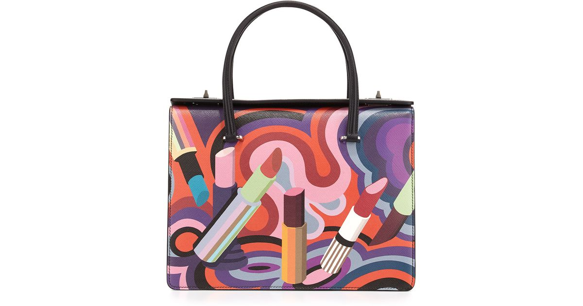 Lyst - Prada Lipstick-Print Saffiano Tote Bag in Purple f68774bfbab81