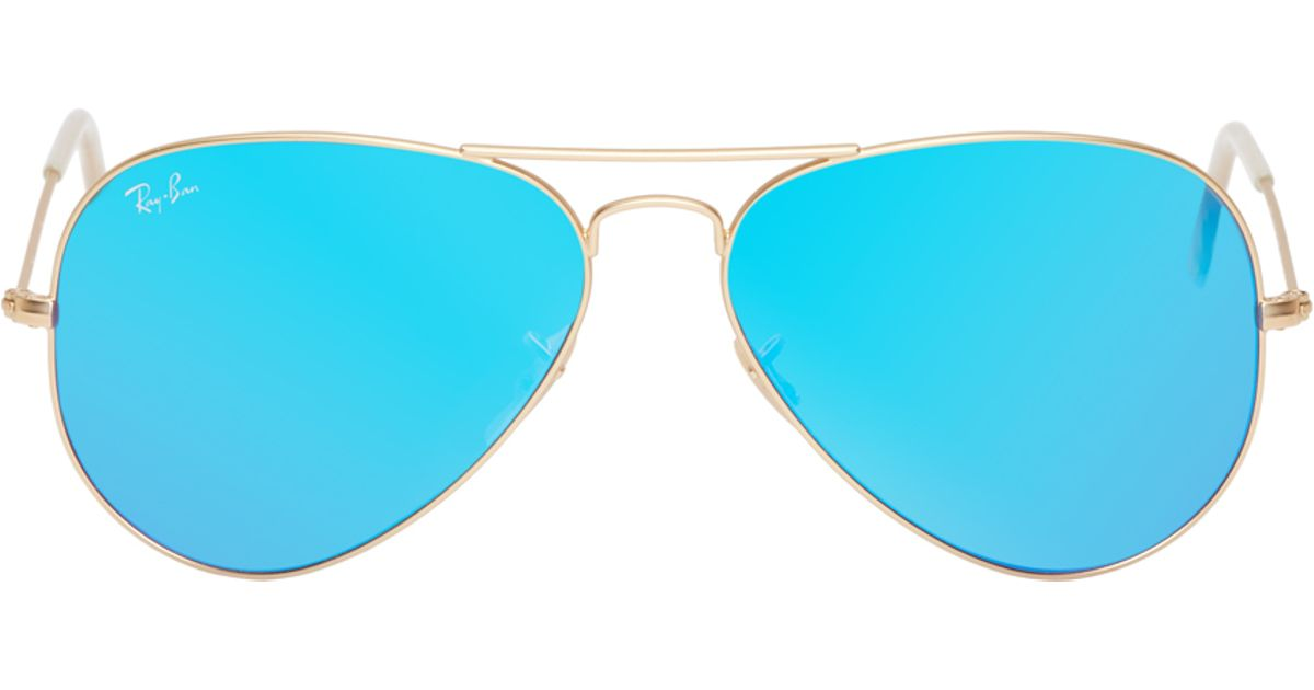 ray ban colored aviators  Ray-ban Blue Mirrored Aviator Sunglasses in Blue for Men