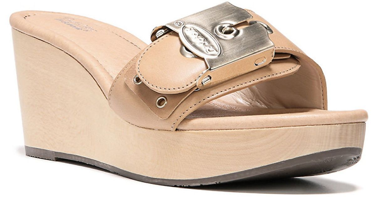 bd9e898693cbaa Lyst - Dr. Scholls Original Collection Leather Enya Wedge Sandals in Brown