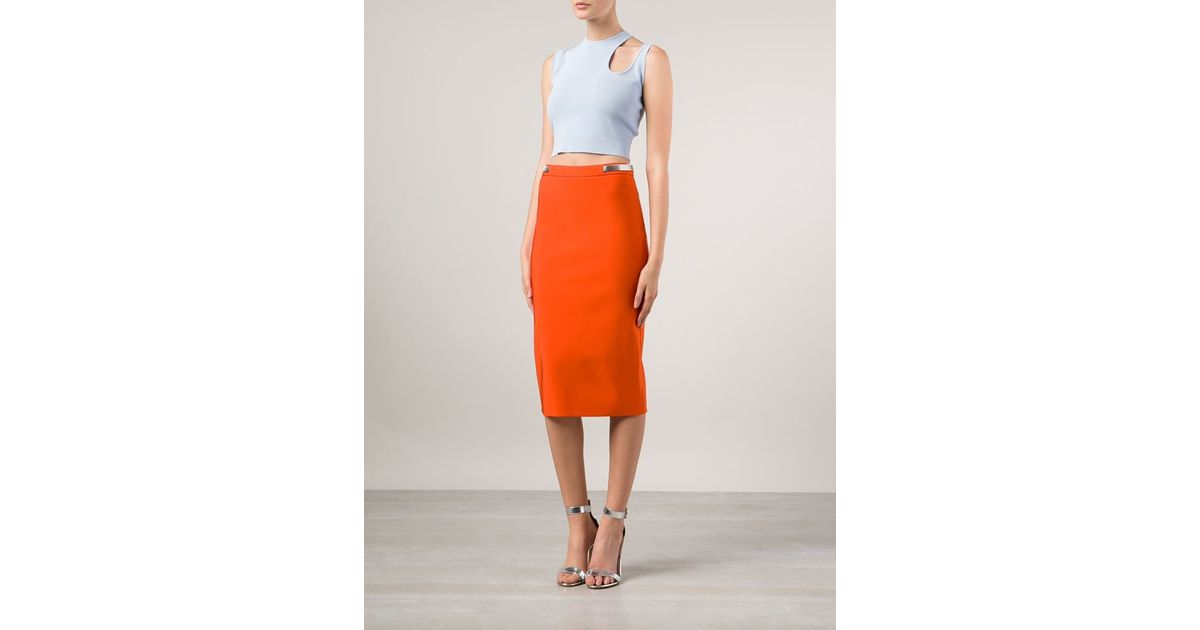 Mugler Back Zip Pencil Skirt in Orange | Lyst