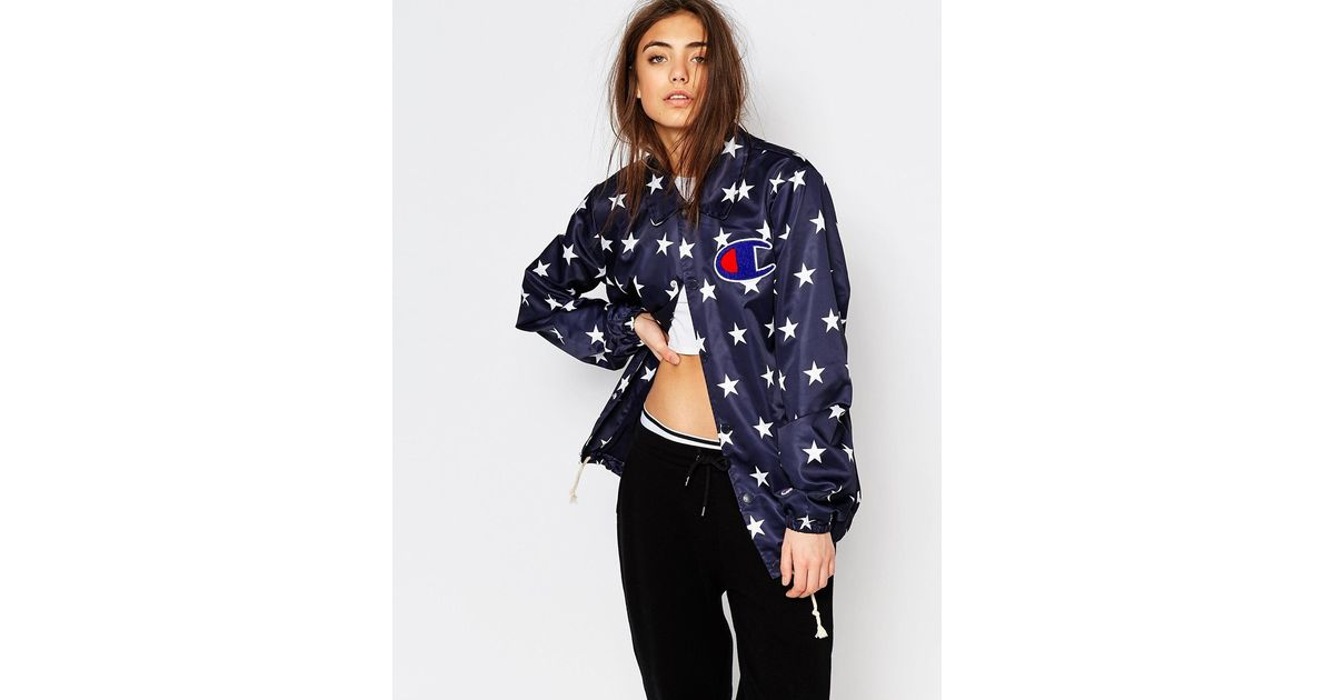 d7fd8a0b Champion Coach Style Jacket In Star Print in Blue - Lyst