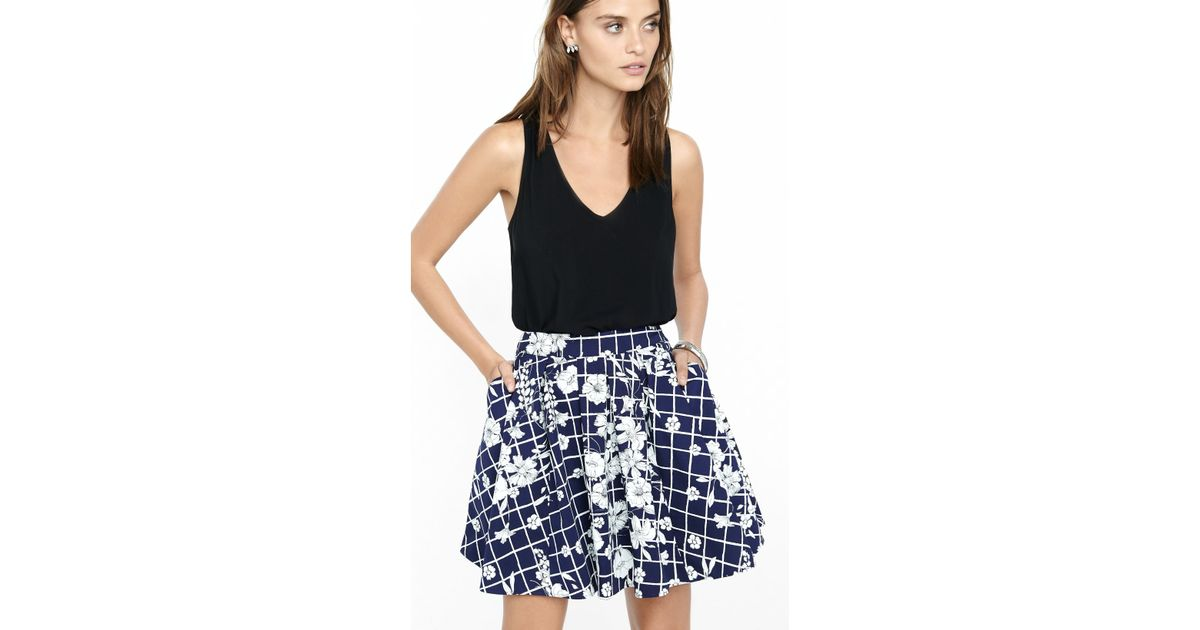 a086b891a Express Geo Floral Print High Waisted Pleated Skirt in Blue - Lyst