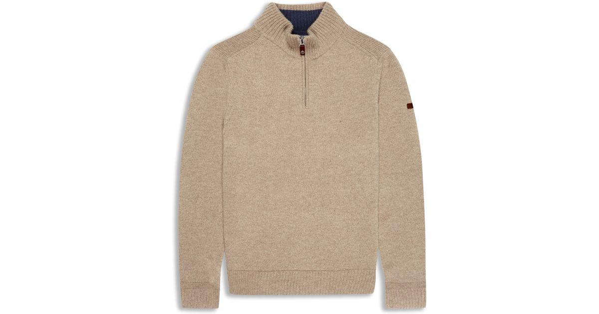 Knitting Pattern Half Zip Sweater : Ben sherman Half-zip Funnel Neck Sweater in Natural for Men Lyst