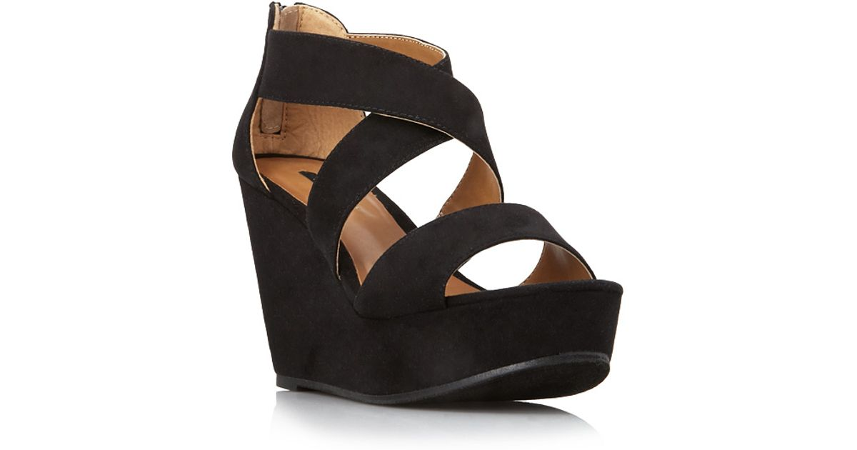 01c3a6d3c4d Forever 21 Strappy Wedge Sandals in Black - Lyst