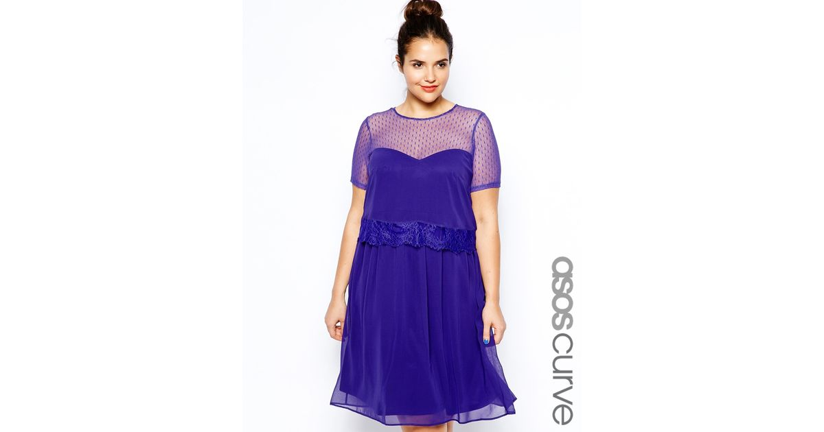 Lyst - Asos Skater Dress With Double Layer And Dobby Spot In Longer Length  in Blue 6c42310f868f