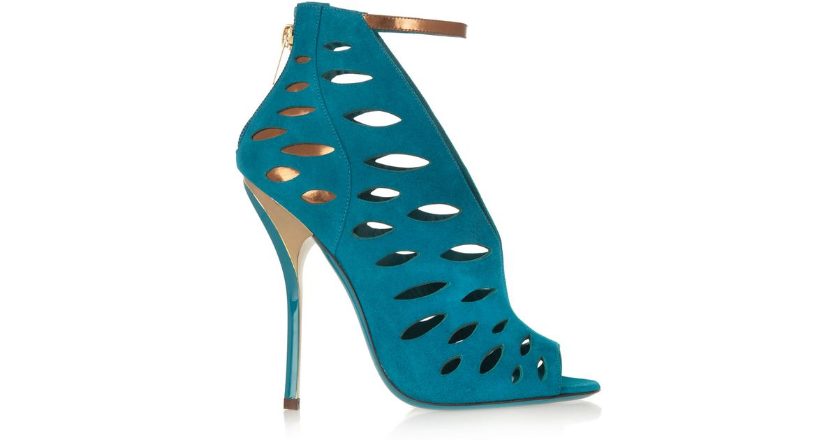 lyst jimmy choo tamber cutout suede and metallic leather sandals rh lyst com