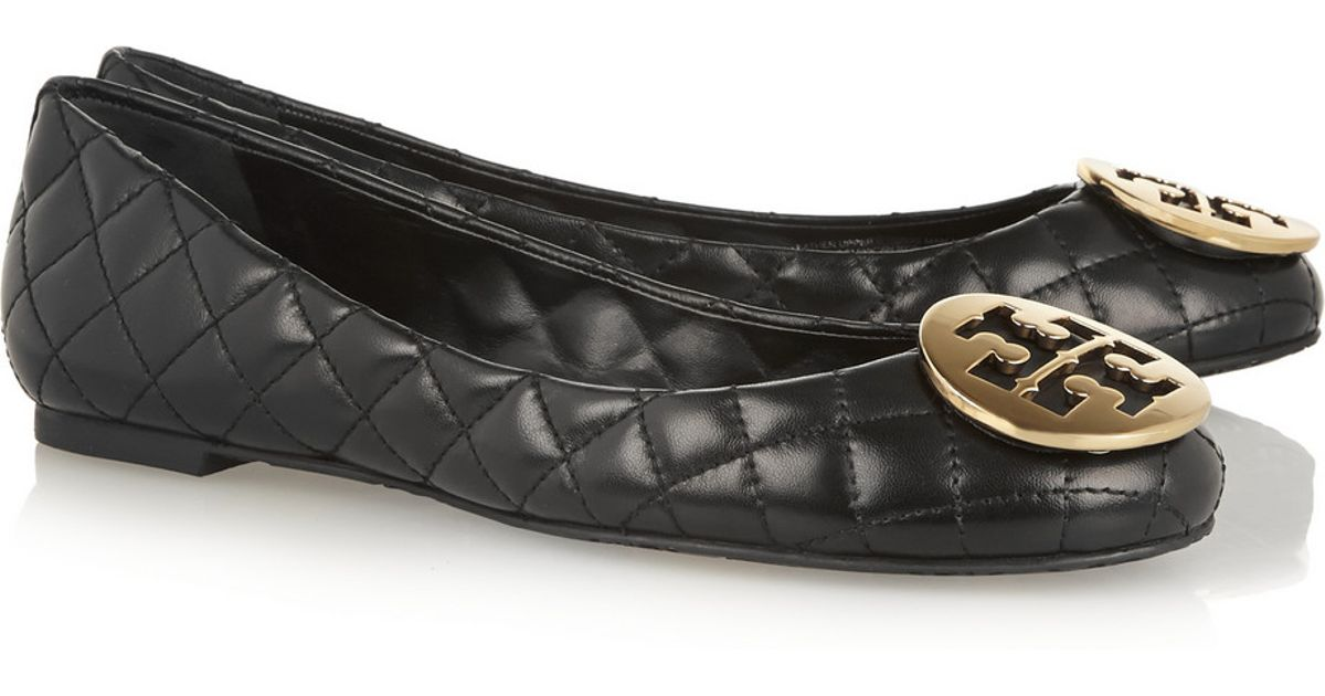 d0a25ff7dac4 Lyst - Tory Burch Quinn Quilted Leather Ballet Flats in Black