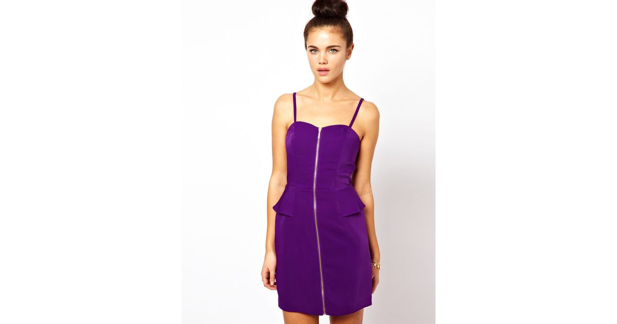 Lyst Oasis Pencil Dress With Zip Front In Purple