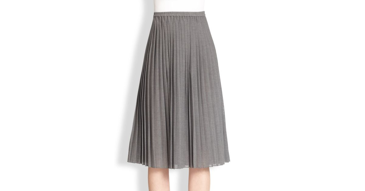 415f168936 Michael Kors Pleated Midi Skirt in Gray - Lyst