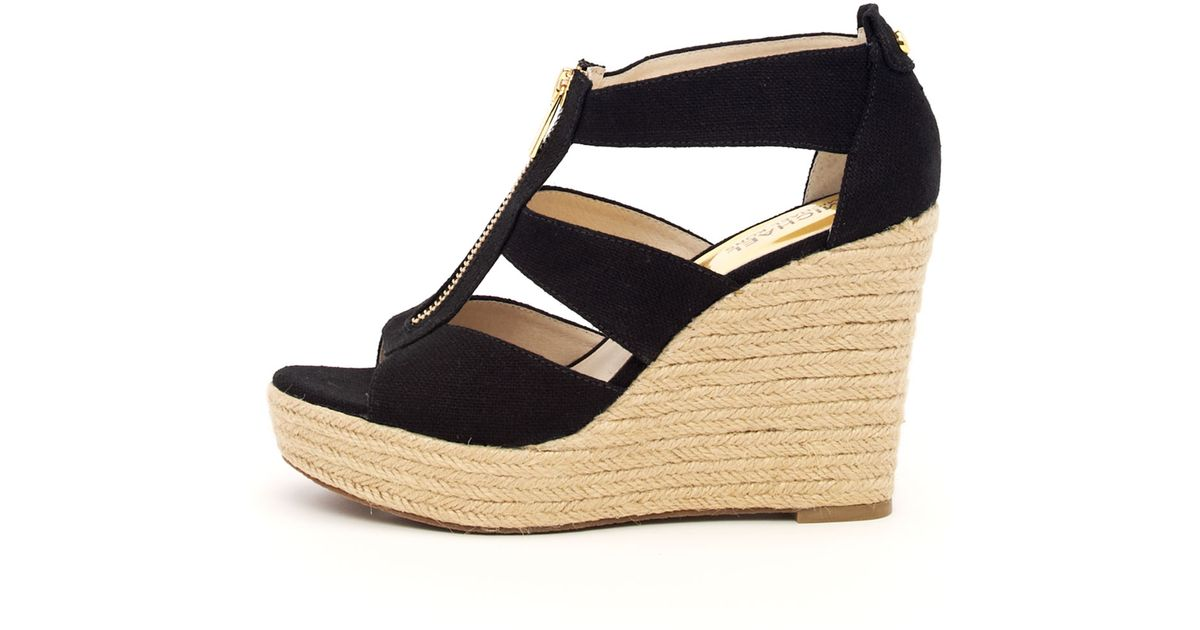 dd2a194173c Lyst - MICHAEL Michael Kors Damita Canvas Wedge in Black