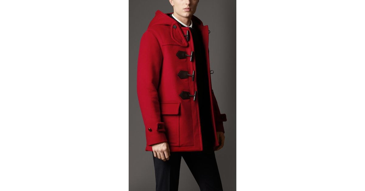 18850f64a Lyst - Burberry Seam Detail Duffle Coat in Red for Men