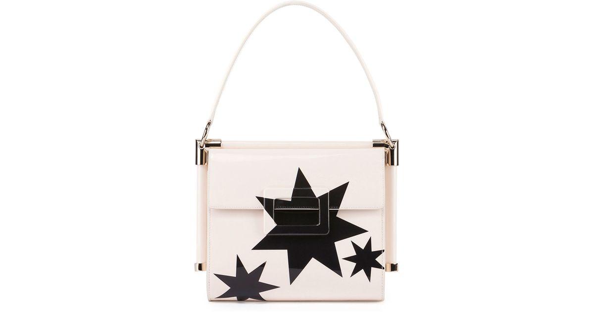 e38a1c152fe1 Lyst - Roger Vivier Miss Viv Carre Small Stars Frame Bag in Natural