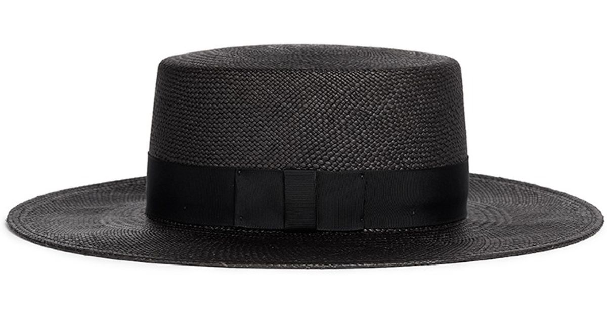 Lyst - Janessa Leone  jane  Flat Top Straw Panama Hat in Black 9135d962e59