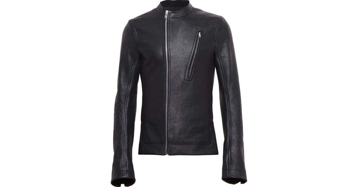 Rick owens Matte Leather Racing Jacket in Black for Men | Lyst