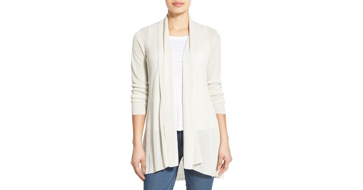 6a9202d302 Lyst - Eileen Fisher Organic Linen Blend Shaped Open Front Cardigan in White