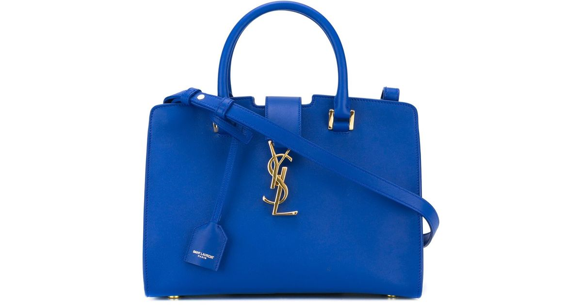 e6233eb831e8 Lyst - Saint Laurent Baby  cabas Monogram  Tote in Blue