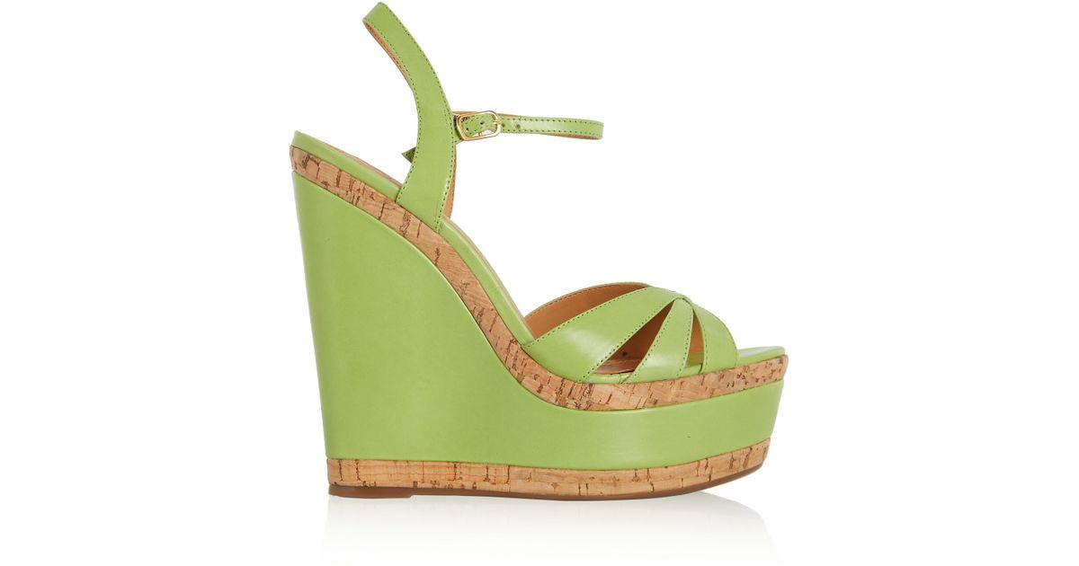 Sandals Lyst Green Wedge Schutz Leather dQsrtCh