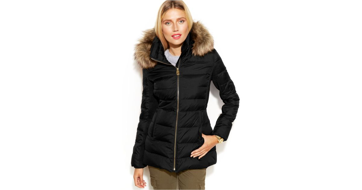 3c69b8f391ec7 Michael Kors Michael Petite Hooded Faux-Fur-Trim Down Puffer Coat in Black  - Lyst