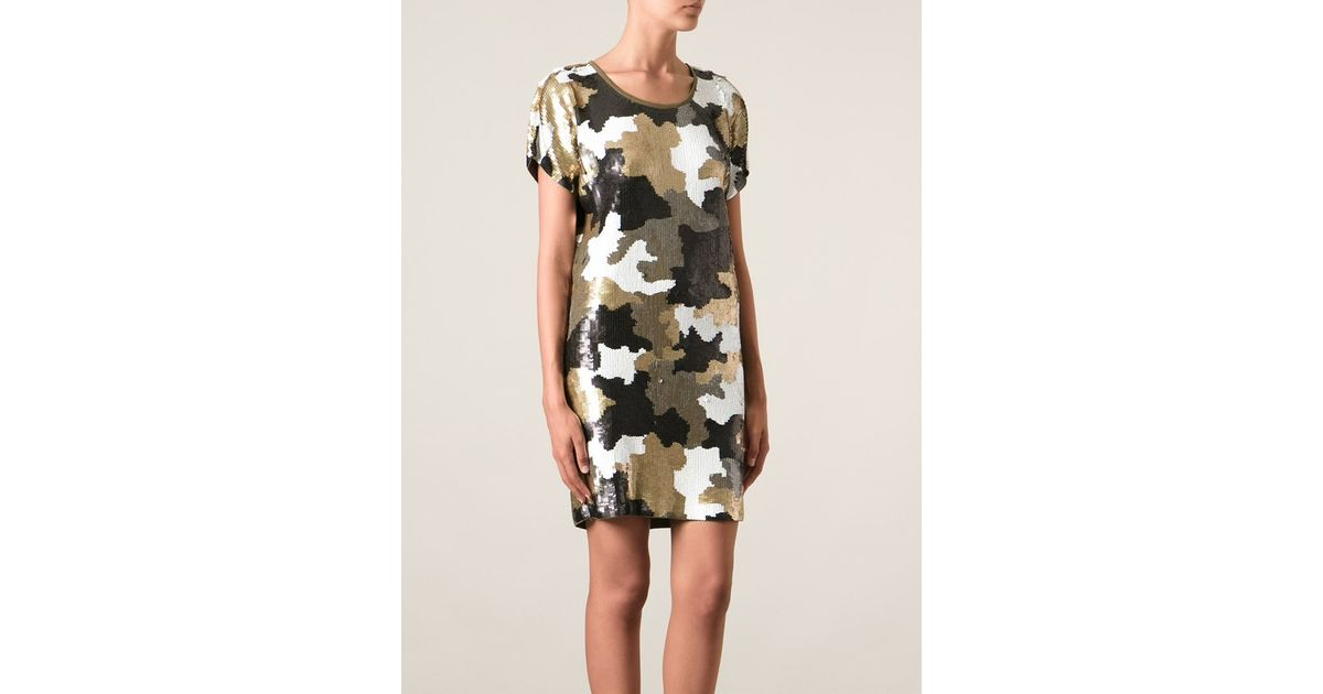 eb0894bd MICHAEL Michael Kors Sequin Embroidered Camouflage Dress in Natural - Lyst