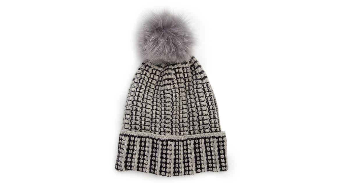 914415498b39a8 Diane von Furstenberg Lola Fox Fur Pom-pom Wool & Cashmere Hat in Gray -  Lyst