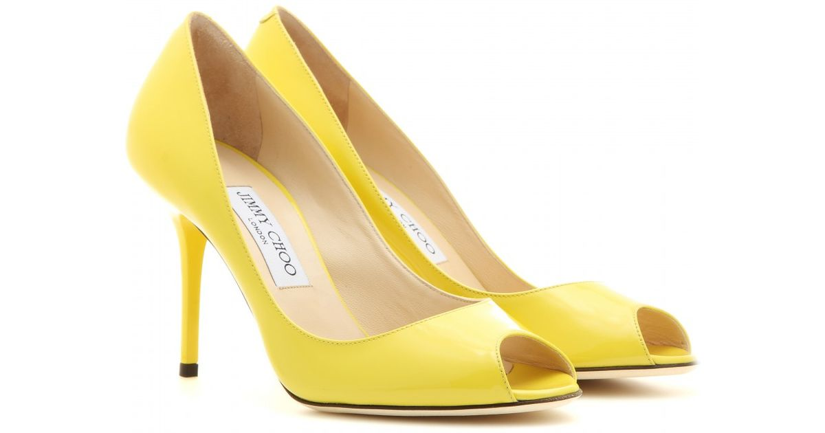 Lyst - Jimmy Choo Evelyn Patent Leather Peep-Toe Pumps in Yellow cac5cf768d
