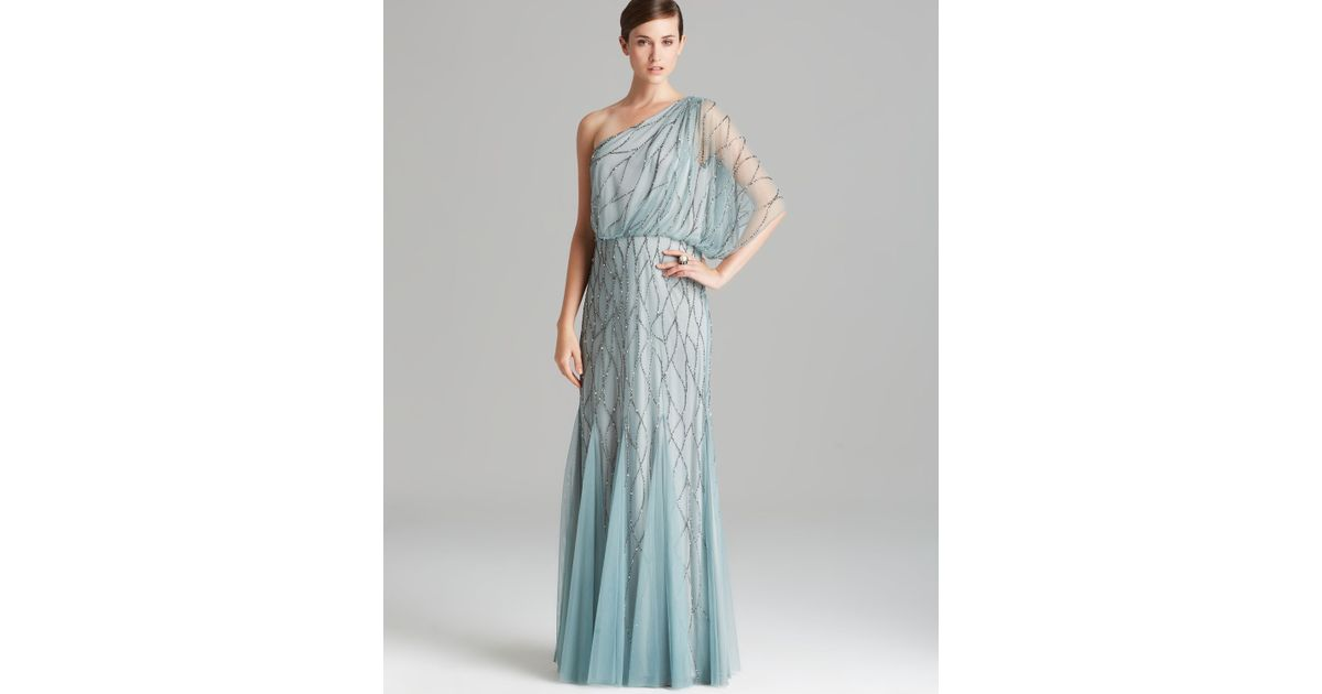Lyst - Adrianna Papell Gown One Shoulder Blouson with Beaded Mesh in ...