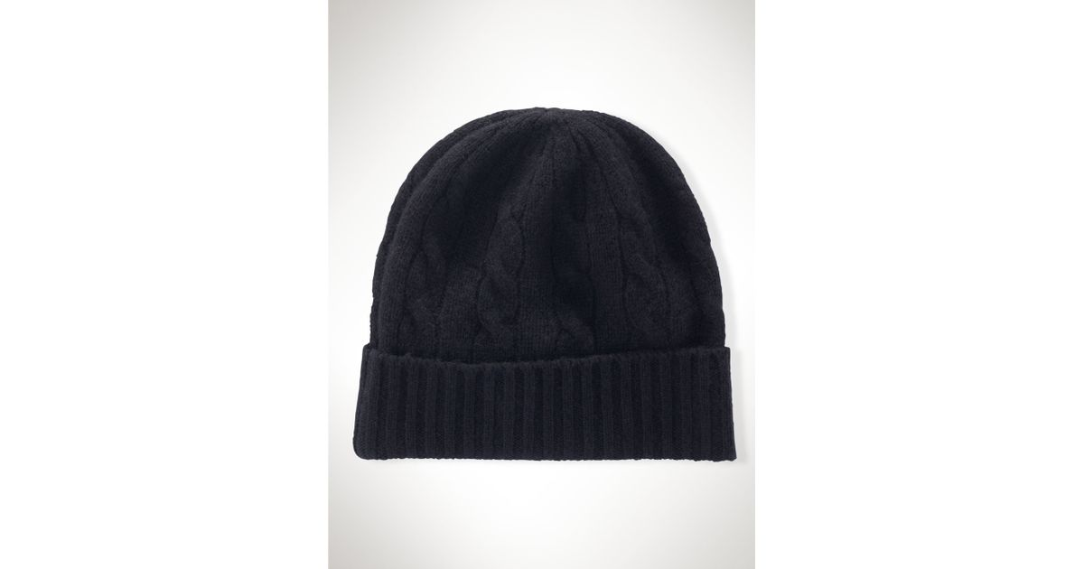 Lyst - Polo Ralph Lauren Cable-Knit Cashmere Hat in Black 97a3c5b7770